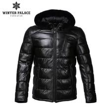 New Winter leather jacket Bring  hat leather jacket men Inte