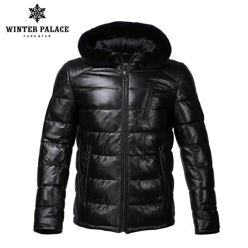Nouvelle veste en cuir d'hiver apporter chapeau veste en cuir hommes veste en coton interne hommes en cuir véritable chaud jaqueta de couro mascul