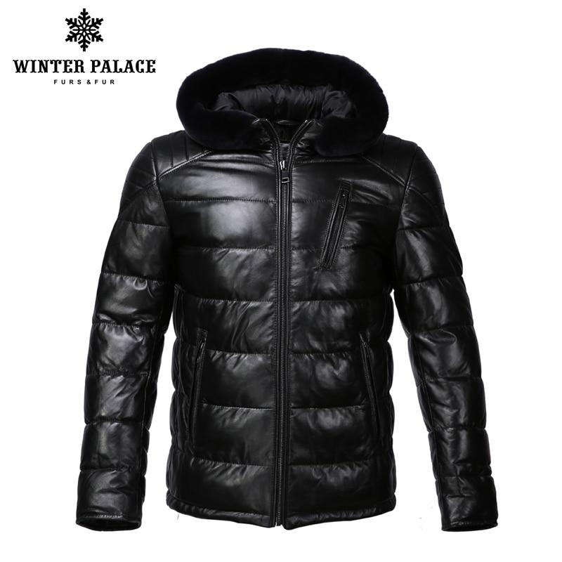 Nuevo invierno chaqueta de cuero a sombrero chaqueta de cuero de los hombres interior Chaqueta de algodón para hombre de cuero genuino cálido jaqueta de couro mascul