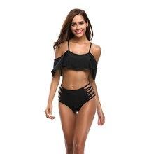 ECTIC 2019 Ruffled Swimsuit Sexy Bikini Womens Swimwear Solid Color Retro Hem Suit Halter