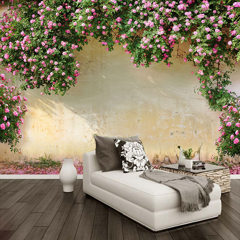Custom Mural Wallpaper 3D Rose Pastoral Wall Painting Living Room Bedroom Theme Hotel Backdrop Wall Decor Romantic 3D Wall Paper