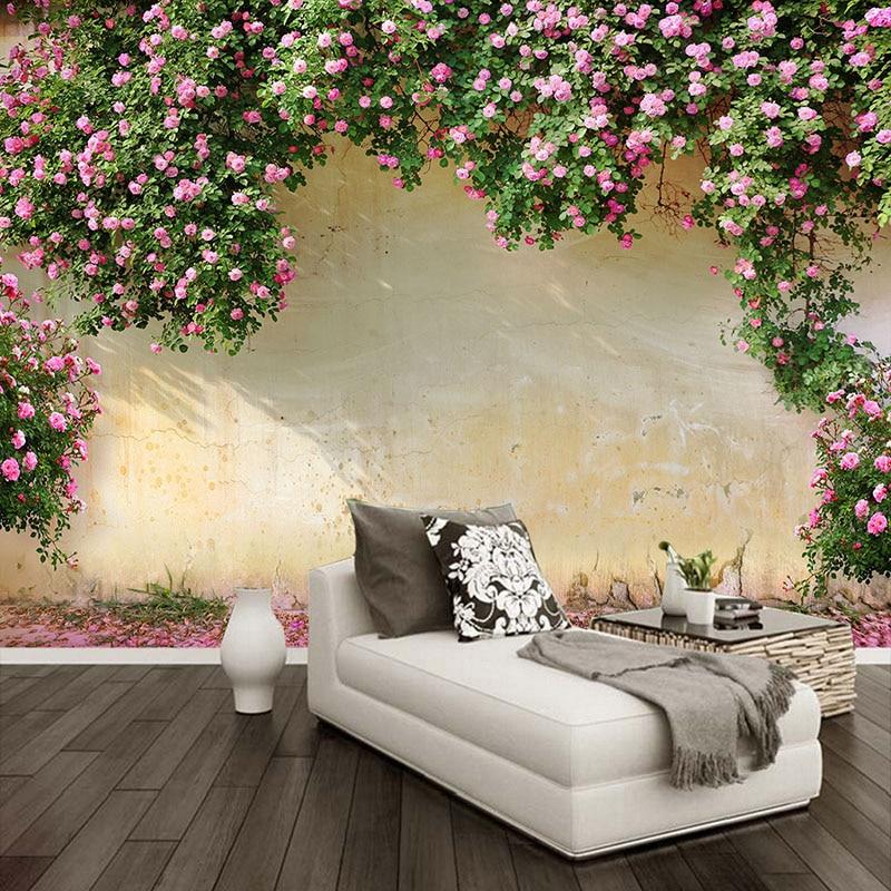 Custom Mural Wallpaper 3D Rose Pastoral Wall Painting Living Room Bedroom Theme Hotel Backdrop Wall Decor Romantic 3D Wall Paper