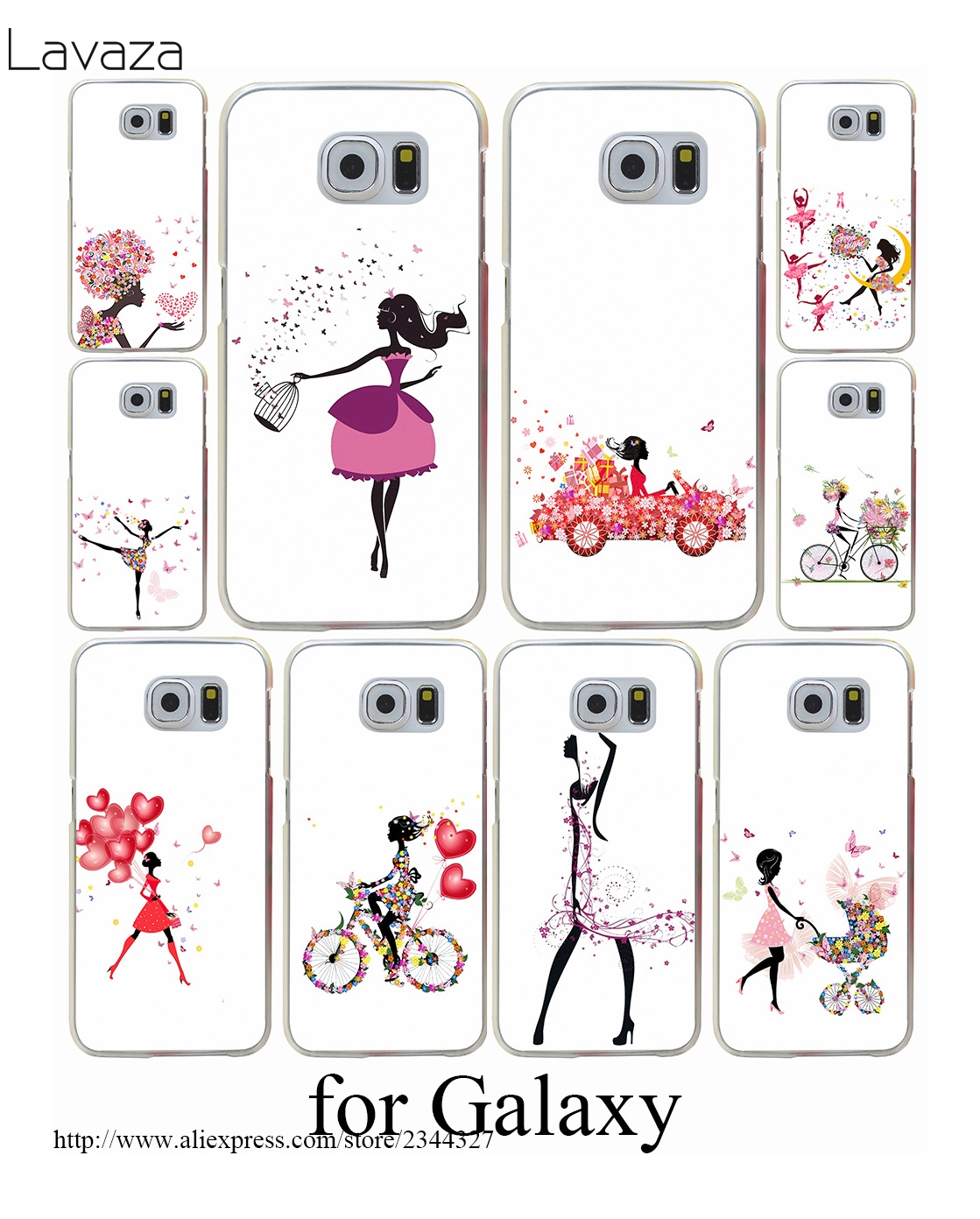 Bicycle Girl Hard Transparent Case Cover for Galaxy S3 S4 S5 & Mini S6 S7 Edge Plus Case Cover