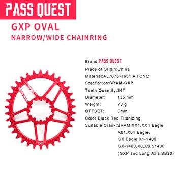 PASS QUEST GXP Bike Oval chainring 34T 6mm Offset MTB Mountain Bike Chainwheel for XX1 Sram XO1 X1 GX XO X9 crank crankset parts