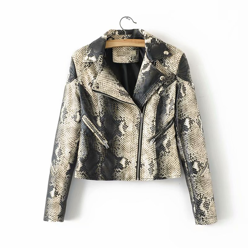 Chic Women Moto & Biker   Leather   Jacket Snakeskin PU Jackets Rivet Zippers Turn-down Collar Casual Female Slim Coat