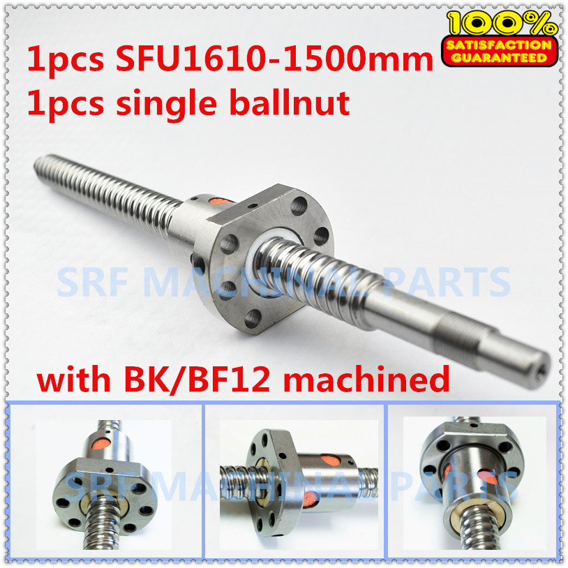 16mm 1pcs Rolled Ballscrew 16mm diameter SFU1610 L=1500 +1pcs SFU1610 ball nut with BK/BF12 end machined for CNC part