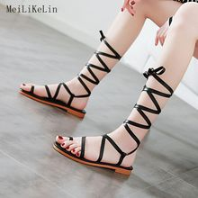 55d32a31421f MeiLiKeLin Women Gladiator Sandals Calf Bandage Flat Sandals Lace-UP Summer  Knee-High Boots Ladies Beach Thong Sandals Big Size
