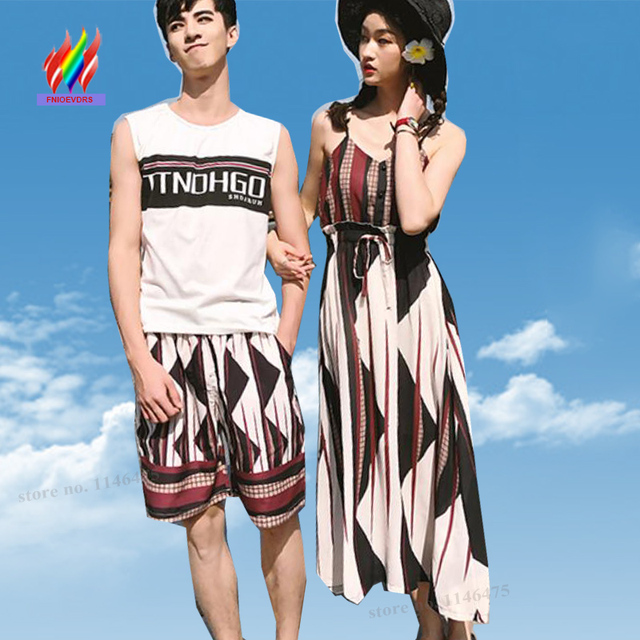 Lovers Couple Clothes Matching Maxi Dresses New Women Holiday