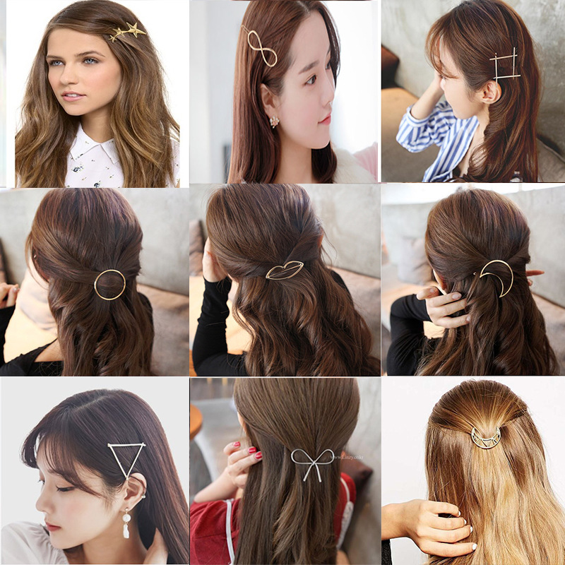 HOT Fashion Elegant Women Gold Silver Geometry Hairpin Hair Clip Barrettes Christmas Party Vaction Hair Accessories