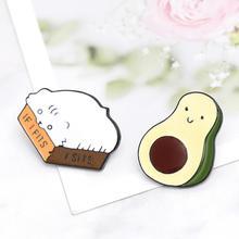 Fashion Brooch Avocado Cute Cat Enamel Pins for Women Kids Jackets Lapel Pin Badge Metal Jewelry Cartoon Fruit Animal Brooches