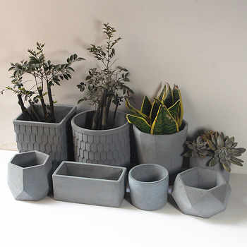 Circular cement flower pot silicone mold square potted landscape indoor and outdoor succulent plant concrete flower pots mold - DISCOUNT ITEM  25% OFF All Category