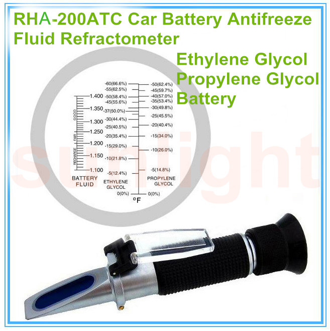 Wholesale 10pcs/lot RHA 200ATC Car Battery Fluid Antifreeze 2 in1  Refractometer with Hard Carrying Case-in Refractometers from Tools    1