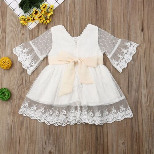 Spring Girls Bridesmaid White Dress Baby Toddler Kids Knee-Length Fashion Party Lace Long Sleeve Bow Wedding Princess Dresses 2