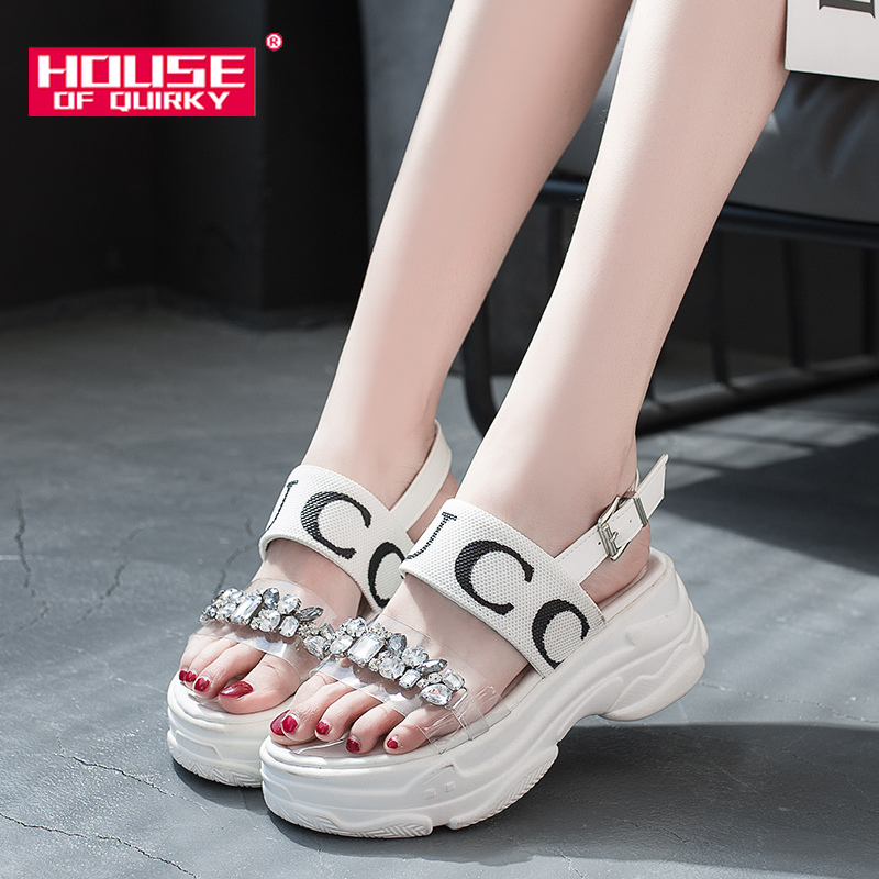 Summer Female Transparent Sport Sandals Fashion Rhinestone Platform Shoes Women Open Toe Casual Shoes Ladies Beach Shoes 2019Summer Female Transparent Sport Sandals Fashion Rhinestone Platform Shoes Women Open Toe Casual Shoes Ladies Beach Shoes 2019