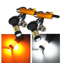 2Sets(4PCS) 1156 P21W BA15S BAU15S 4014 60 SMD Canbus Amber/White LED Bulbs Turn Signal Light Dual Colors Switchback Bulb
