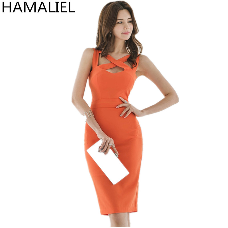 HAMALIEL Korean High Quality 2018 Summer Sheath Dress Formal Women Orange Sexy V Neck Hollow Out Bodycon Slim Vest Party Dress