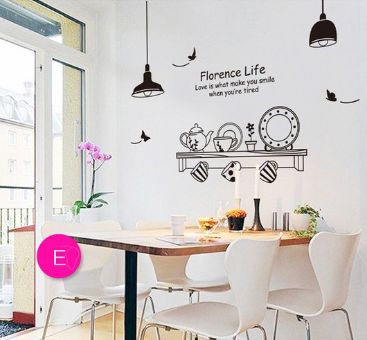 Black sketch dinnerware plates wall sticker kitchen dining room cafe decor self adhesive decals vinyl stencil