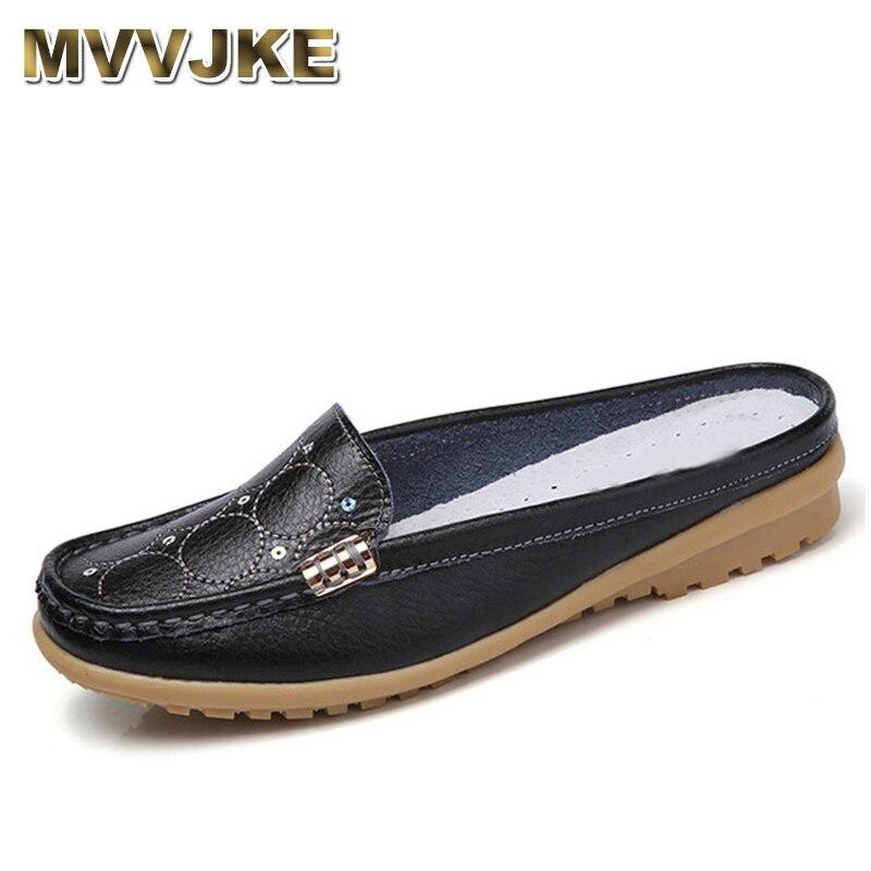 MVVJKE 2018 Women Summer Flats slip-on   leather   Breathable loafer ladies Casual round toe slingbacks Shoes Flats Flip Flops