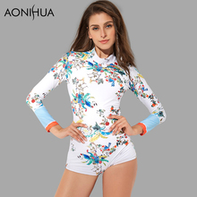 AONIHUA One Piece Swimsuits for Women Long sleeve 2018 New Slim Print  Surfing Rash Guards Push up Swimwear Female Swimming Suit