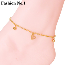 Fashion Gold Plated Chain Anklets Beach Foot Bohemia Jewelry for Women Gift Simple Heart Pendant Bell Foot Chains Free Shipping