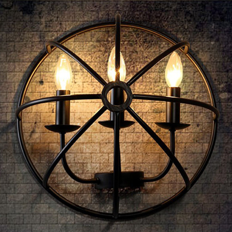 American Industrial Loft Wrought Iron Retro Wall Lamp Creative Restaurant Decr Lights Corridor Bar Light Free Shipping industrial lamps and lanterns of wind loft balcony corridor creative american restaurant wall lamp wrought iron bar counter