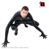 Black front zipper latex suit Unitard Sexy Zentai overall Latex Catsuit feet socks gloves rubber catsuit zentai plus size LT 019