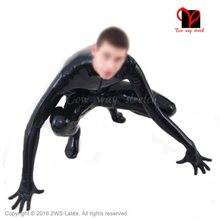 Black front zipper latex suit Unitard Sexy Zentai overall Latex Catsuit feet socks gloves rubber catsuit zentai plus size LT-019