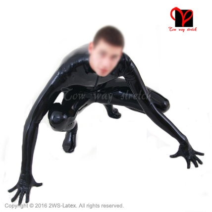 Buy Black front zipper latex suit Unitard Sexy Zentai overall Latex Catsuit feet socks gloves rubber catsuit zentai plus size LT-019