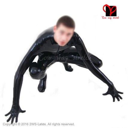 Frontale nero con cerniera tuta di lattice Zentai Unitard Sexy complessivo Catsuit del Lattice piedi calze guanti di gomma catsuit zentai plus size LT-019