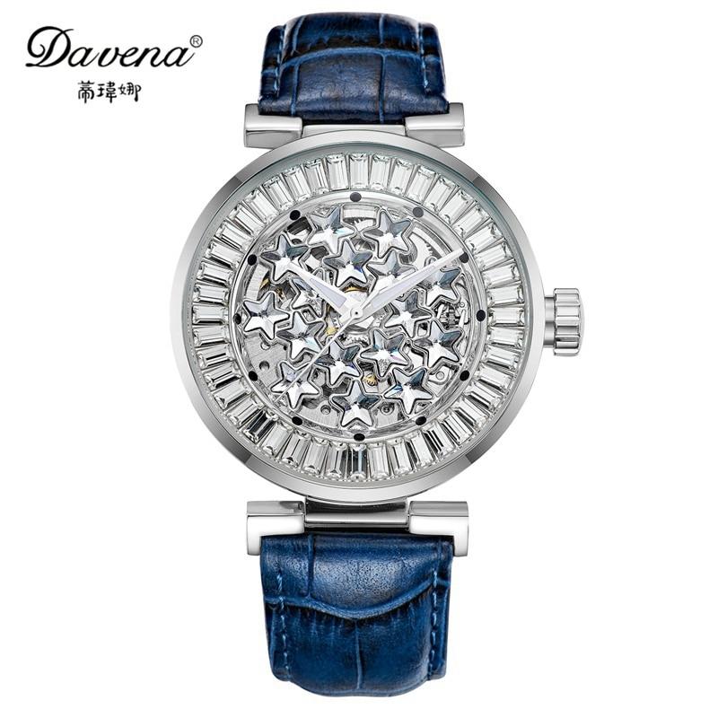 New Women Best Star Bling Luxury Crystal Wrist Watch Genuine Leather Band Fashion Casual Quartz Watches Mechanical Davena 31192 best band куртка для мальчика be380323 коричневый best band