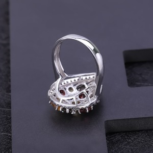 Image 5 - Gems Ballet Multicolor Natural Garnet Citrine Smoky Quartz Gemstone Rings 925 Sterling Silver Cocktail Ring For Women Jewelry