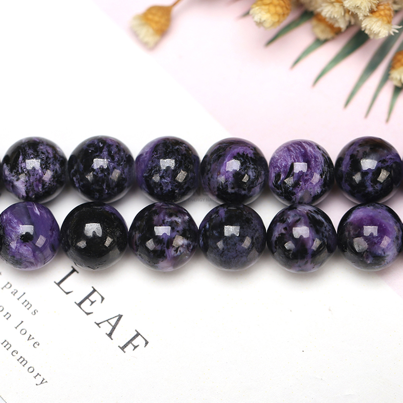 Natural Russian Charoite Stone Purple Color Round Smooth 6 8 9 10 11 12mm Pick Size Bracelet Accessory For DIY Jewelry Making