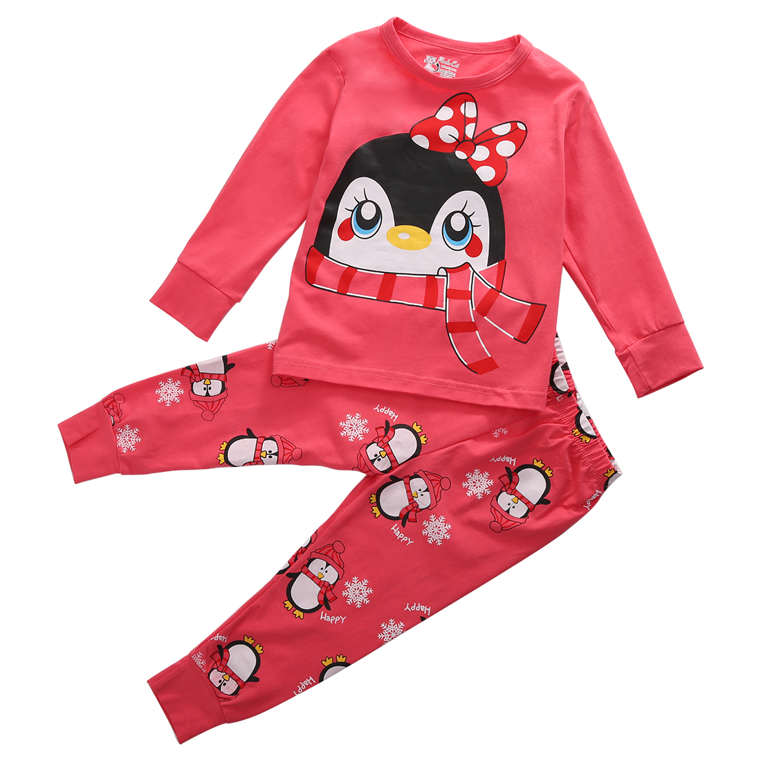 Pyjamas Kids For Children Cartoon Girl Long Sleeve Sleepwear Autumn Spring Warm Nightwear Tops Bottoms 2pcs Baby Girls 1-7 Years