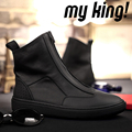 2016 Zip Ankle Boots Casual Men Shoes Flat High Top Creepers Round Toe Botas Mujer Solid Chaussure Homme Autumn Winter Boots Men