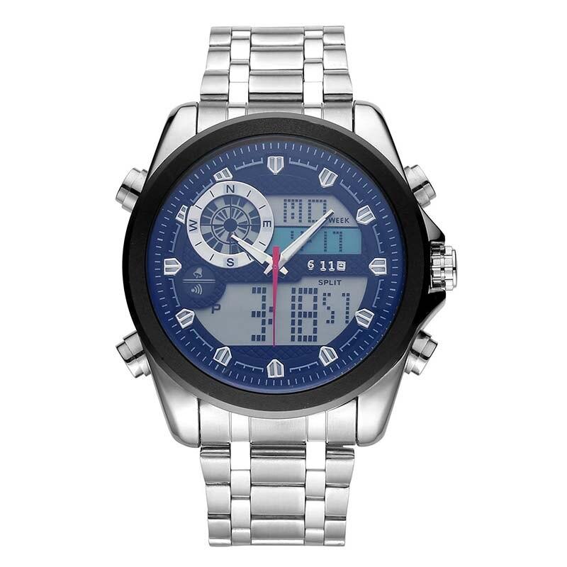 New  Sports Watches Men stainless steel men's Watch Luminous Watch LED Electronic Luxury Watch Shock Dual Display Wristwatc