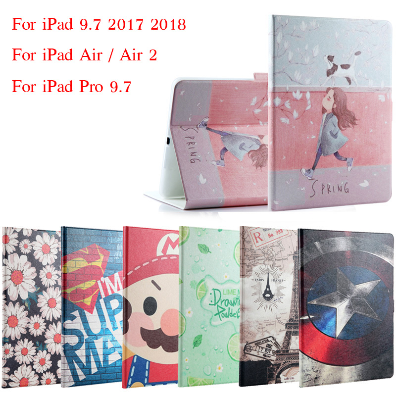 Case For iPad 9.7 2017 2018 Fashion Painted Flip PU Leather For iPad 5 / 6 Smart Case Cover For iPad Air / Air 2 / Pro 9.7 +Gift