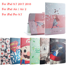 New 2017 For iPad 9.7 / Air / Air2 Fashion Painted Flip PU Leather For iPad 5 / 6 / Air 2 Smart Case Cover + Stylus + Film for ipad air 1 air 2 case high quality soft tpu bottom back case cover for 9 7inch ipad air1 air2 free stylus and screen film