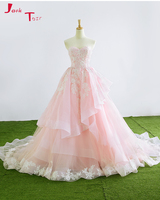Jark Tozr Halter Neck Off the Shoulder Appliques Bridal Gowns Gentle Pink Tulle Wedding Dresses 2018 Luxury Vestido De Noiva