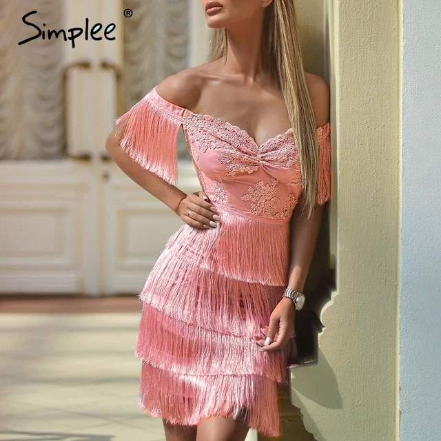 Simplee Embroidery off shoulder tassel sexy dress Pink mini lady dress 2018 Autumn winter women lace dress female party vestidos
