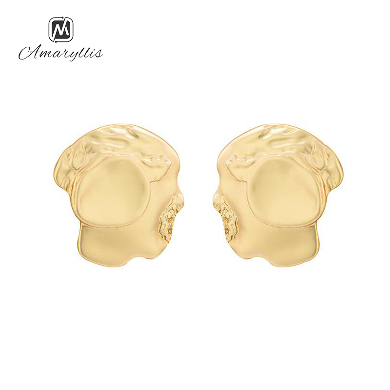 Amaiyllis New Brand Abstract Face Matte Gold Color Earrings For Women Exaggerated Cartoon Face Outline Geometric Stud Earrings