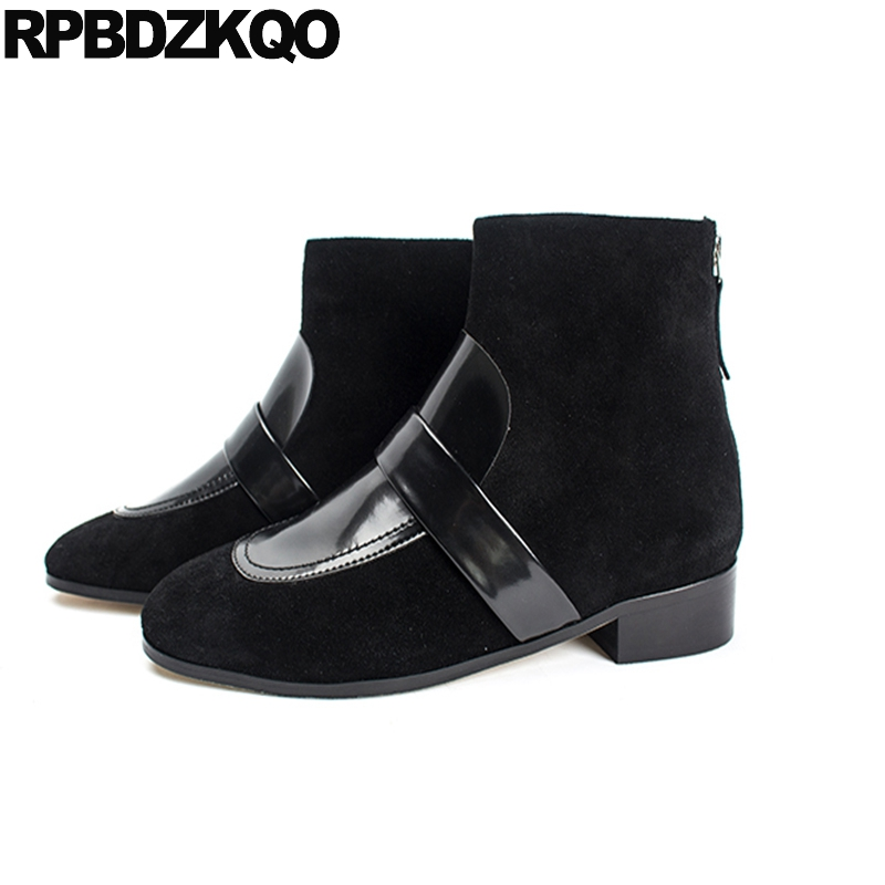 Fur Shoes Suede Fall Autumn 2017 Luxury Winter Square Toe Ankle Designer Women Chunky Black 9 Booties Fashion Short Chinese