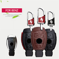 Genuine Leather Car Smart Key Case Cover Shell Key Holder Chain For Mercedes Benz Accessories W203