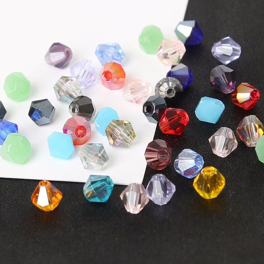 Lote de cuentas de cristal facetadas de 4mm, 110 unidades, mezcla de 44 colores, transparente, rosa, champán, marrón, Arco Iris, joyería para collar DIY