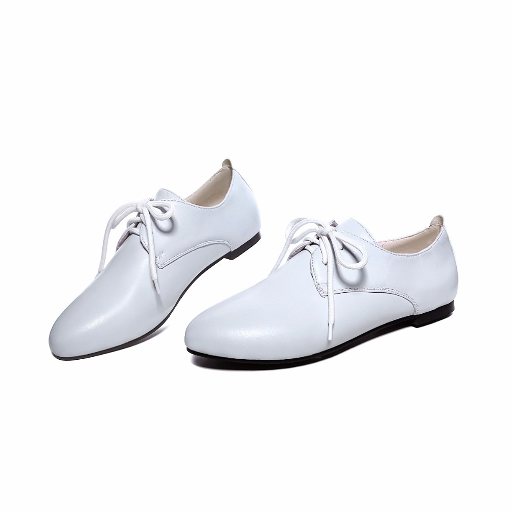 Sneakers Chaussures Black white Lace Up Mocassins Pu Ballerines Marque En Printemps purple 2018 Femmes Cuir Oxford Blanc W1O6U