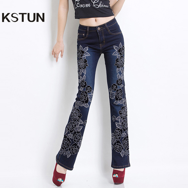 fba2303c49ebc Brodé Jeans Femmes Noir Taille Haute Stretch Manuel Perlée De Luxe Femelle  Denim Pantalon Cloche fond