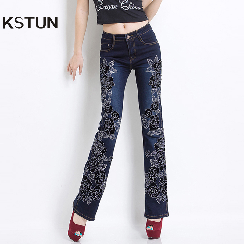 Embroidered Jeans Women Black High Waist Stretch Manual Beaded Luxury Female Denim Pants Bell bottom Flared Boot Cut Sexy Ladies