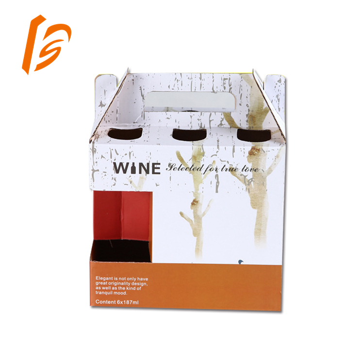 Custom Corrugated Paper Single Bottle/Pack Wine Box With Rope Handle