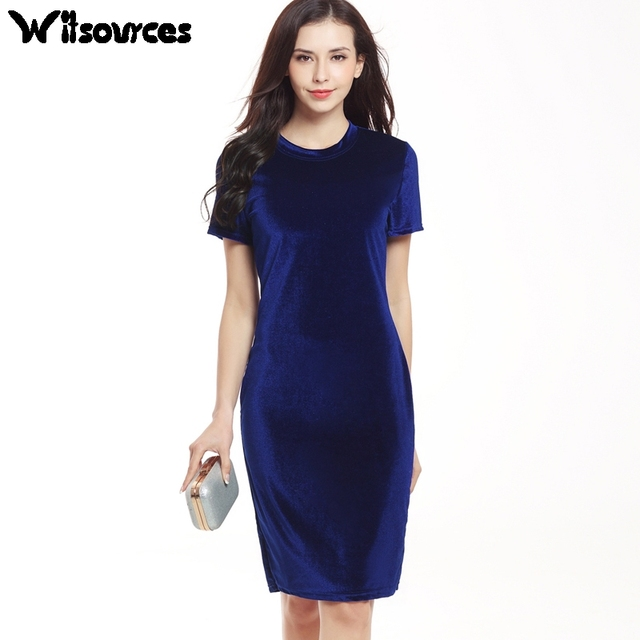 Witsources women velvet summer dresses 2017 new short sleeve slim waist  knee length casual work pencil dress SD3683 e3e8182ff4e3