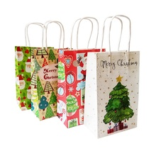 40 Pcs/lot Merry Christmas 21x13x8cm Gift Bag With Handle Decoration Kraft Paper Lovely Tree Santa Claus