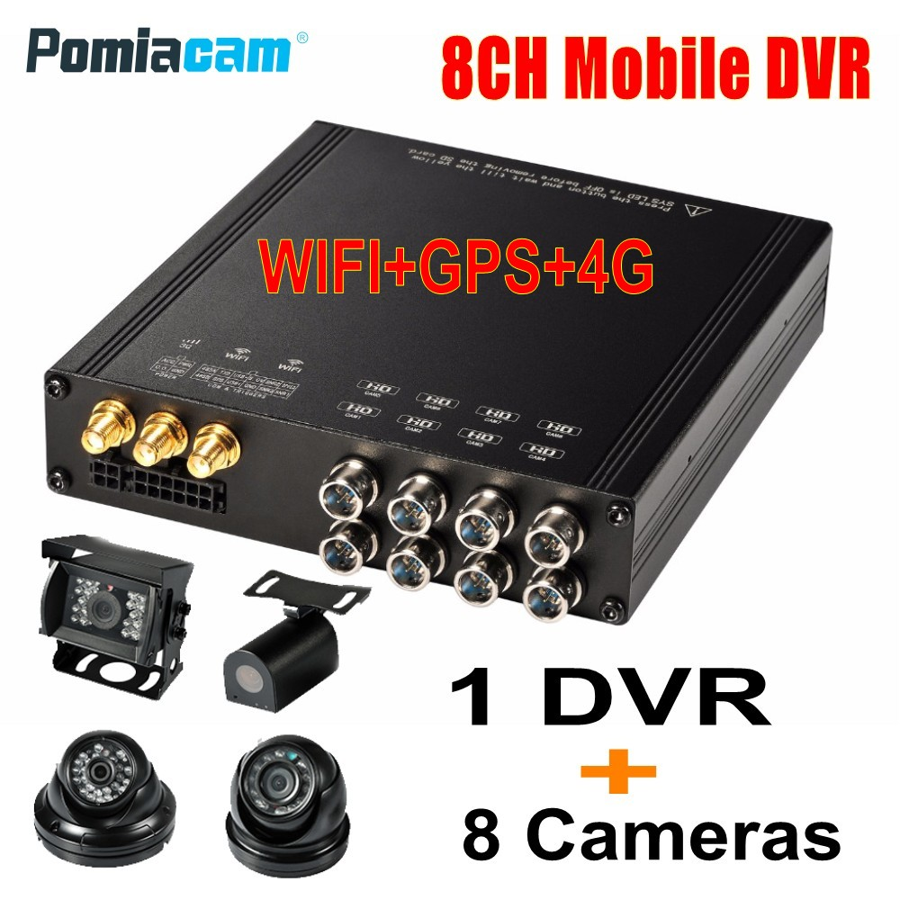 DHL Free HDVR8085 8CH HDD Mobile DVR GPS WIFI G sensor 3G 4G Vehicle Mobile DVR